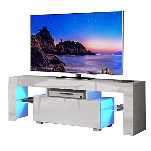 YOLEO TV-Lowboard LED, Fernsehschrank Fernsehtisch TV-Schrank mit LED-Beleuchtung, Stehend TV-Regal 130x35x45 cm (Stil-2 Weiß)