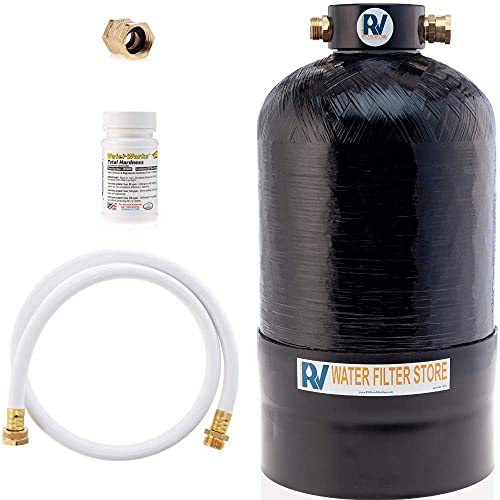 Essential RV Water Softener Portable 16,000 Grain w Custom Hose, Long Lasting for RVers Vanlife, 3/4' Fittings, Softens Hard Water When Traveling or Mobile Spot Reducing Car Washing