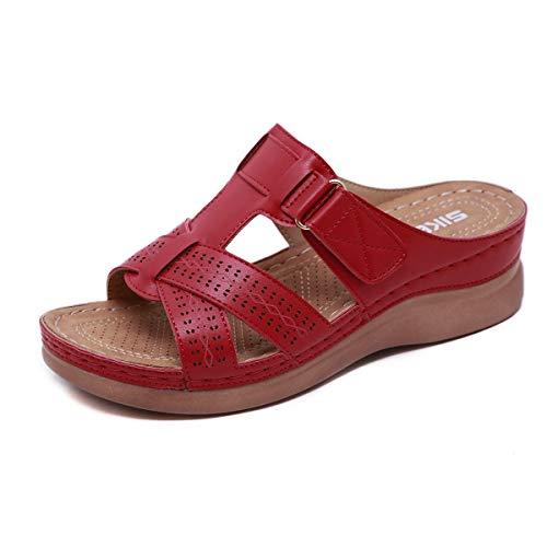 FBRR Sra Zapatillas Zapatillas Antideslizantes Enfriar Zapatillas Zapatos de Verano casa Interior Hembra Waichuan (Color : Red jujube, Size : 6/7 UK)