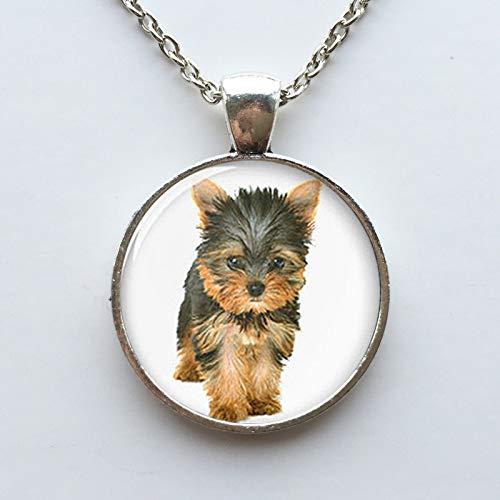 Collana Yorkie con ciondolo a forma di cane Yorkshire Terrier, in vetro, idea regalo