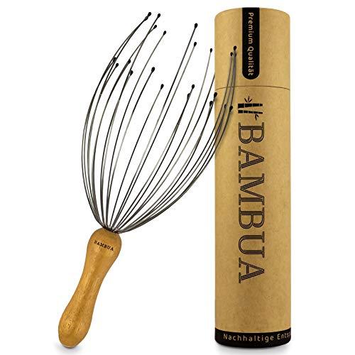 BAMBUA - Kopfmassage Spinne mit 24 Fingern - Bambusgriff - Hergestellt aus Moso-Bambus - Premium Kopfmassagegerät für Nachhaltige Entspannungsgefühle - Ideal als Geschenk