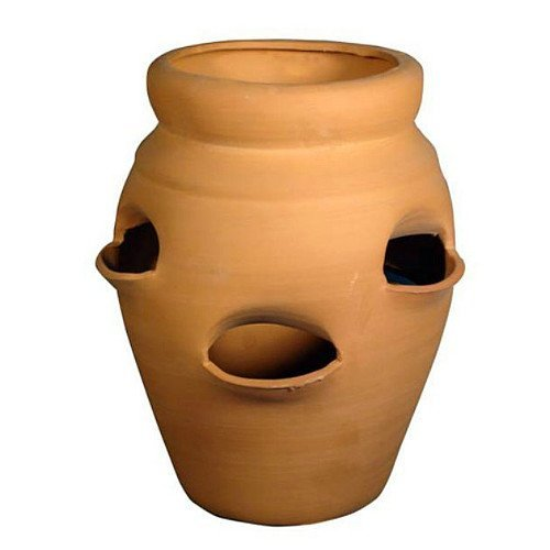 "Standard Strawberry Pot - Herb Jar - Terracotta - 4 Pocket - 1 Gallon - 6"" x 10"""