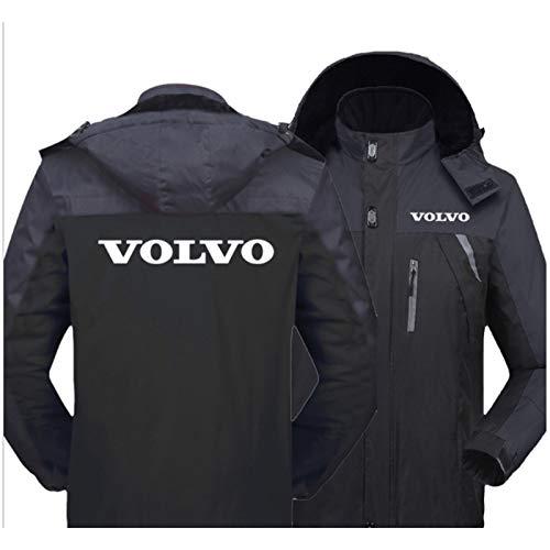 CLDP Herren wasserdichte Jacke Für Volvo Winter Windjacke Leichte Parka Mantel Fleece Warme Oberbekleidung Sport Mit Kapuze Mantel Mit Zip-Taschen Black-4X-Large