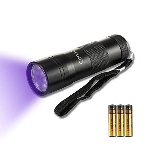 flashlight for stains Consciot UV Flashlight 12 LED Black Light 395nm Ultra Violet Blacklight Detector Torch Light for Dog Urine, Pet Stains, Bed Bug with 3 AAA Batteries