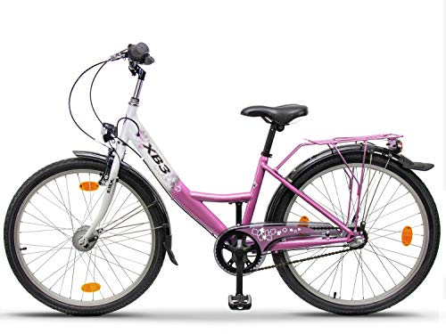 XB3 24 Zoll Mädchen-Kinder-Fahrrad Shimano Nabendynamo, 3 Gang Nabenschaltung, Rücktrittbremse, City-Damen-Bike, StVO, LED-Licht pink
