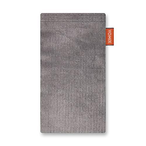 YOMIX Lasse Grau Handytasche Tasche für HTC One S9 aus Cordstoff mit Microfaserinnenfutter | Hülle mit Reinigungsfunktion | Made in Germany