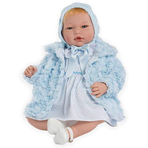 Muñecas Guca- MUÑECA Reborn CAYETANA, Vestido Blanco, con Abrigo Y Capota Azul....