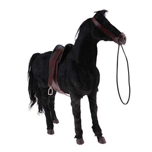 SM SunniMix Escultura de Resina de de Caballo Modelo Animal a Escala 1/6 para Muñeca de 12 Pulgadas, de Soldado, Accesorios de Acción - Negro