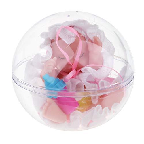 F Fityle Lindo Durmiendo Muñeca Bebé Renacida Miniatura Juguete para Navidad - Rosado