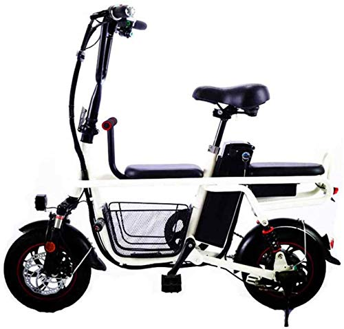 RDJM Bici electrica, Viajes Bicicleta eléctrica Plegable de la batería de Litio eléctricos de Dos Ruedas de la Bicicleta de Adulto Padre-Niño Doble con Amortiguador de Mascotas