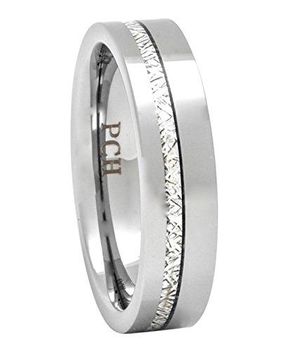 PCH Jewelers Meteorito Anillo 6mm Confort Ajuste Boda Banda para Hombre Fina Tira de carburo de tungsteno de Alta Polaco