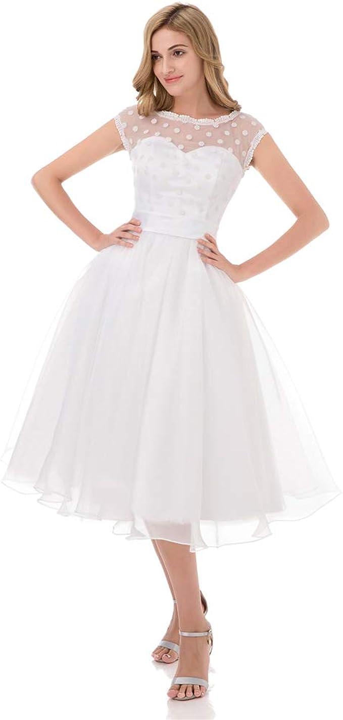 iLovewedding 20s Retro Polka Dotted Wedding Dress Tea Length Short Bridal  Gowns
