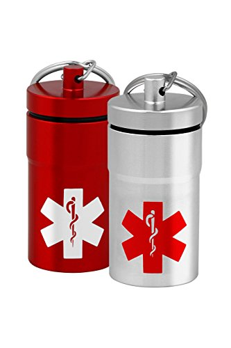 Stash Jars, Airtight Waterproof Smell Proof Container Pill Holder with Medical Emblem, Secures Nitroglycerin Nitro Bottle Aspirin Ibuprofen Medications Herbs Food Plus, EDC Keychain Fob (2, Medium)