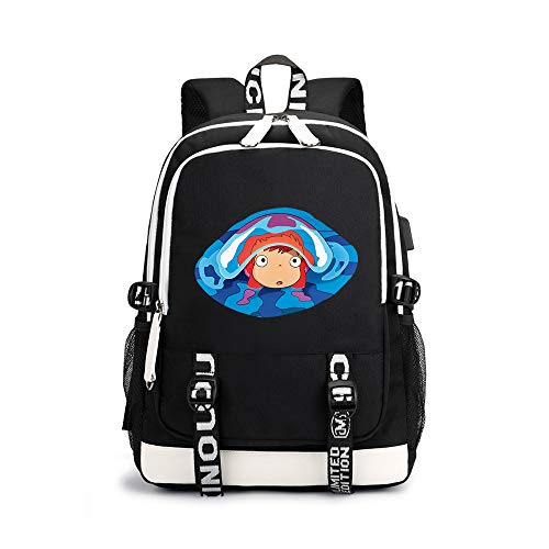 Ponyo on The Cliff Pencil Cases Anime Printing Design Daypack Trend Pattern Design Schoolbag Waterproof Backpack for Boys and Girls Unisex (Color : A06, Size : 30 X 15 X 43cm)