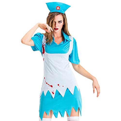 RISTHY Vestidos de Halloween para Mujeres Traje de Fiesta de Falda de Enfermera Vestido de Cosplay