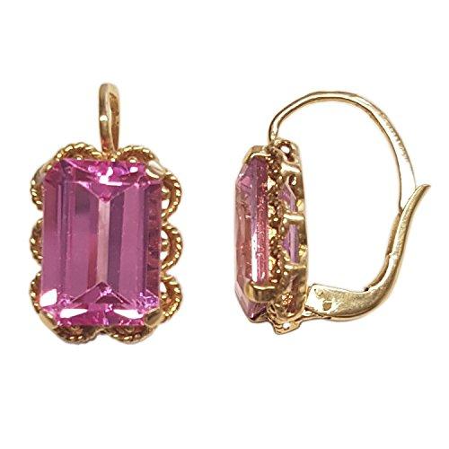 Clearance Orecchini Donna in Oro 18 carati Giallo con Rosa di Francia, 8.5 Grammi