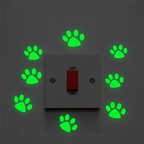 Lindo Gato Perro Huella Luminosa Interruptor Pegatinas Habitaciones de niños decoración del hogar Que Brillan en la Oscuridad Vinilo Fluorescente calcomanías de Pared Arte Mural