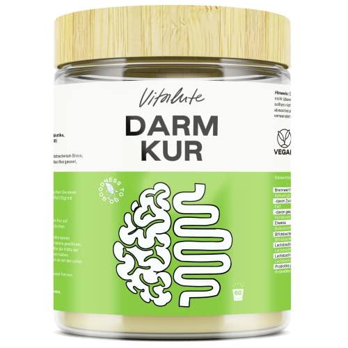 Darmkur - 1 Monat Kur mit Probiotika (20 Mrd. Kulturen pro Tagesdosis), Präbiotika (Inulin), Aminosäuren (L-Glutamin) und Ballaststoffen (MCT C8) - Detox Kur 600g