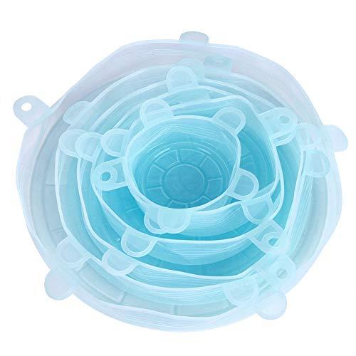6ピース/セットシリコーン再利用可能なストレッチ可能な食品果物保存カバーふた再利用可能な食品収納ボウルキッチン用品(青い)