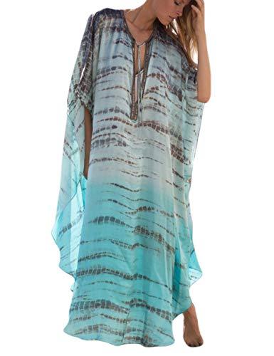 Bsubseach Women Plus Size Lace-up V Neck Batwing Sleeve Side Slit Turkish Beach Kaftan Bikini Cover Up