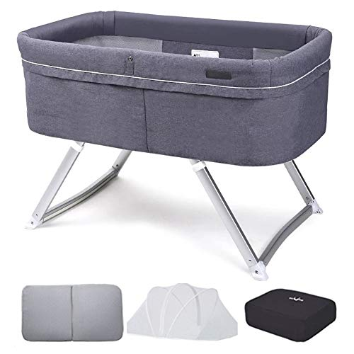 Review Of XJJUN-Rocking Crib Rocking Crib Baby Cot Anti-Mosquito Foldable Bedside Easy to Carry Heig...