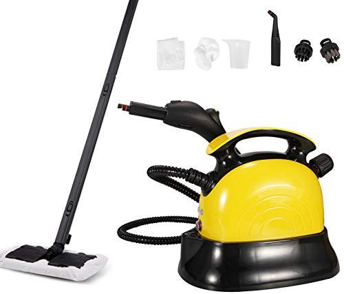 Moongiantgo - Limpiador de vapor de alta temperatura, multiusos, 1500 W, máquina de limpieza de vapor, para piso, alfombra, cocina, ventanas, coches, Amarillo, 0.8L Tank