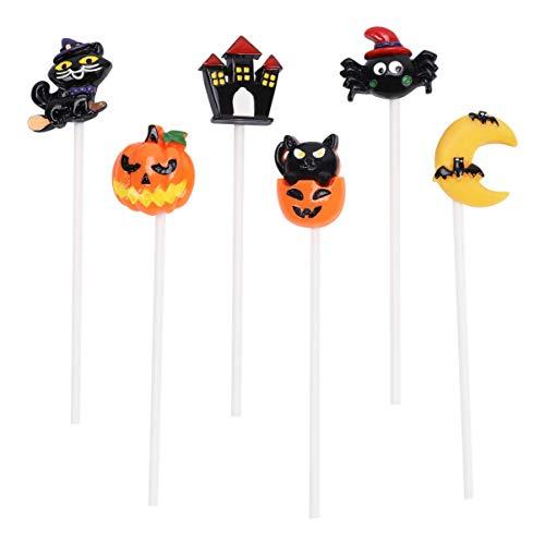 TOYANDONA 6pcs Halloween Cupcake Toppers Moon Pumpkin Black Cat Castle Spider Cake Picks Dessert Insert Decor for Halloween Party Favors -  RU917468MSYBLZL11MQ61N