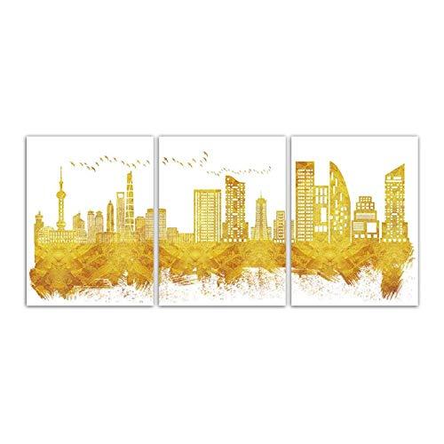 Jwqing Canvas Kunstdruk Golden Abstract Skyline Schilderij Stad Gebouw Afbeeldingen Woonkamer Mode Muurposter Wooncultuur (40x60cmx3 No Frame)