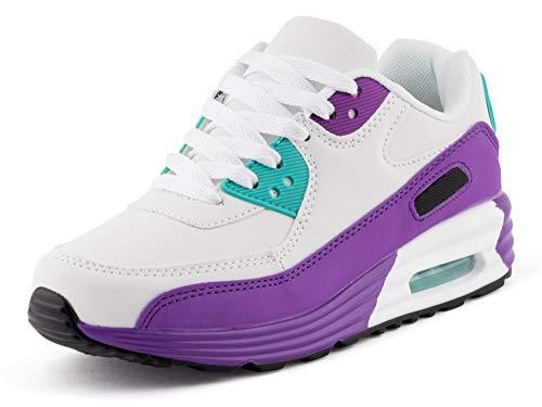 Fusskleidung Unisex Damen Herren Sportschuhe Übergrößen Laufschuhe Turnschuhe Neon Sneaker Schuhe Weiß Lila Lila EU 39