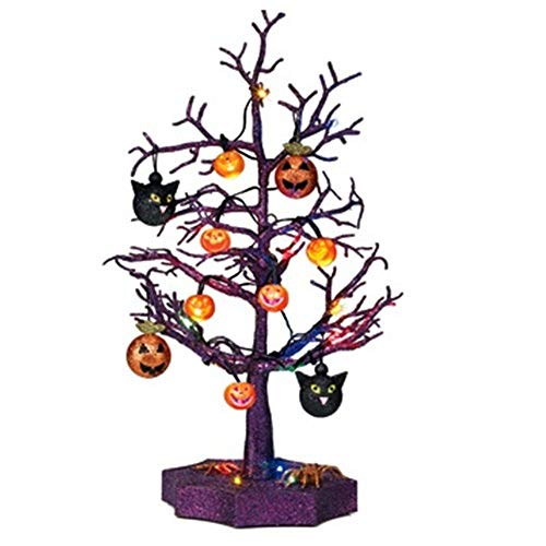 LED Light Up Purple Tree with Halloween Ornaments