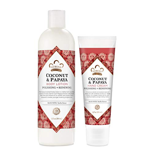 Nubian Heritage Lotion Skincare Bundle Moisturizer for Dry, Dull Skin Coconut and Papaya Renewing and Hydrating Pack of 2