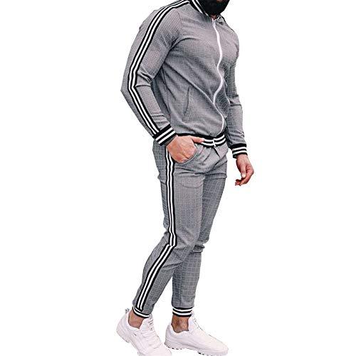 GOLOFEA Freizeit- und Reisen Komfortable Plaid Trainingsanzug für Sport, Sweatshirt Jogger Jogginghose, Set Langarmhülse Reißverschluss Jogging Bottoms Sportanzüge L(175~180cm)