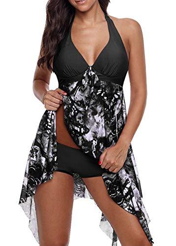 CIZEUR Tankini Damen Bauchweg Große Größen mit Short Badeanzug Blumendruck Push up Beachwear Swim Kleid Elegante XL Schwarz