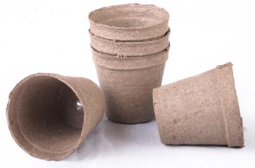 Lot de 100 pots ronds de tourbe Jiffy de 3 x 3 cm. Les pots sont ronds de 7,6 cm en haut et 7,6 cm de profondeur. (pack basique) (version originale)