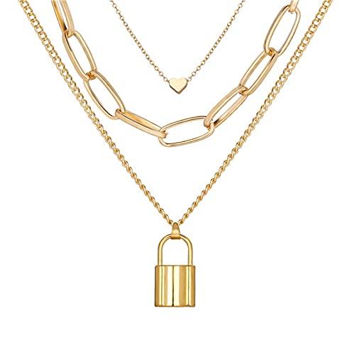 AYJMA Collares Colgantes de Bloqueo de Moda para Mujer, Collar de múltiples Capas de corazón con Llave de Oro, Collar Steampunk, joyería de Pareja, Regalo B de Plata