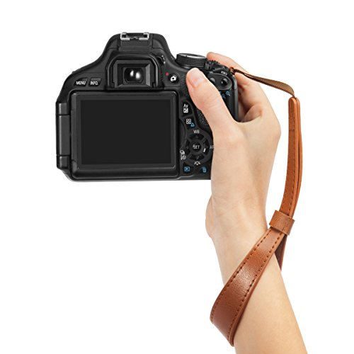 Woodmin Genuine Leather Camera Wrist Strap for DSLR Cameras Canon Fuji Nikon Olympus Panasonic Pentax Sony Cameras (Coffee)