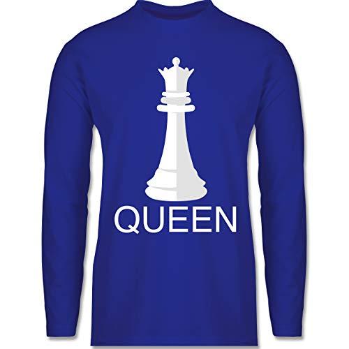 Shirtracer Karneval & Fasching - Queen Schachfigur Karneval Kostüm - 3XL - Royalblau - Verkleidung Kostüm - BCTU005 - Herren Langarmshirt