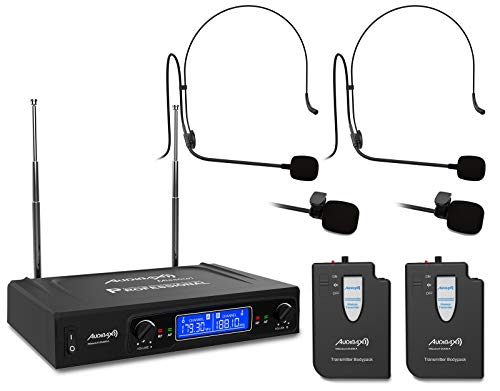 Audibax - Missouri 2500 - Micrófono Inalámbrico Profesional Doble - Set de 2 Micrófonos Tipo Lavalier / 2 Micrófonos Tipo Madona - con Receptor Display - Rango de Cobertura 80 metros - Frecuencia A
