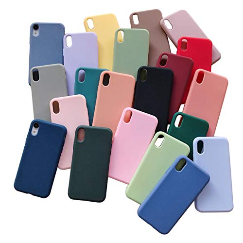 AllRing 1x Custodia Morbida in Silicone per iPhone 11 PRO XS Max XR X 10 8 7 6 6S Plus 7Plus 8Plus 6Plus Fashion Candy Color Couple Cover (for iPhone XS Max,#11)