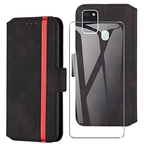 HHUIWIND Hülle für Samsung Galaxy A21s Leder + Panzerglas,Handyhülle Samsung Galaxy A21s,Schutzhülle Handytasche Klapphülle Streifen Hülle mit Kartenfächer für Samsung Galaxy A21s-Schwarz01