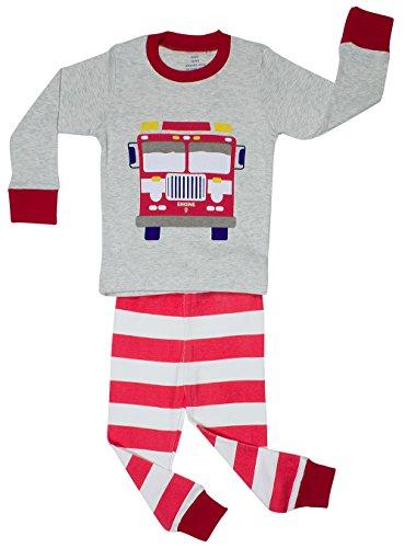 elowel | Schlafanzug | Kinder | Jungen | Zweiteilig - 2-Teilig | Enganliegend | 100% Baumwolle | Bequem, Weich | Größe: 4 Jahre (104) | Design: Feuerwehrauto | Farbe: Mehrfarbig