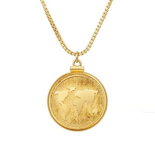 ACC PLANET Coin Necklace 18K Gold Plated Box Chain Vintage Coin Pendant Gold Pendant Necklace for Women