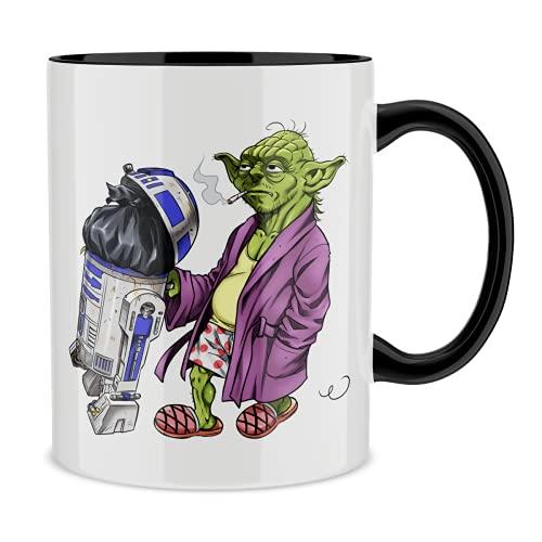 OKIWOKI Star Wars Lustiges Tasse mit farbigem Henkel und Innenleben (Schwarz) - R2-D2 und Yoda (Star Wars Parodie signiert Hochwertiges Tasse - Ref : 1107)