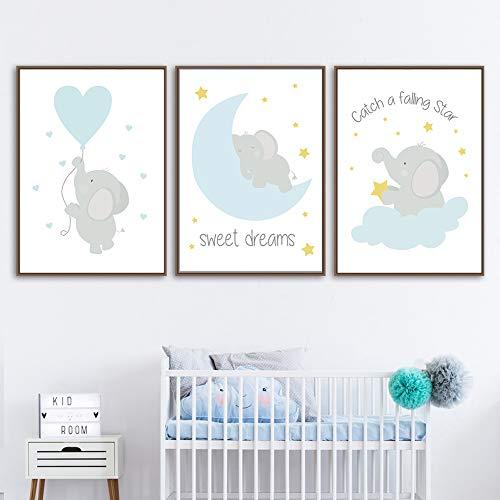 Juego de 3 Cuadros 30x40 Infantiles Niño Animales Pósteres Elefante Láminas Impresión en Lienzo Decoración Habitación Bebé pared Regalo Sin Marco NPTWC002-M