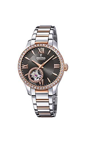 Festina Reloj Modelo F20487/2 de la colección AUTOMATICO, Caja de 33,5 mm Gris con Correa Acero-Bronce para señora