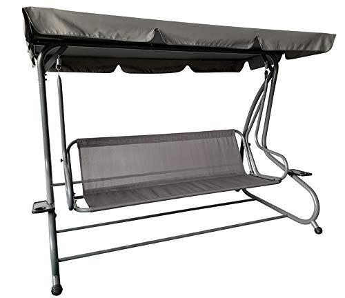Pure Home & Garden 4-Sitzer XXL Hollywoodschaukel mit Liegefunktion Askim Anthrazit, einfach klappbar, 232 cm - 5