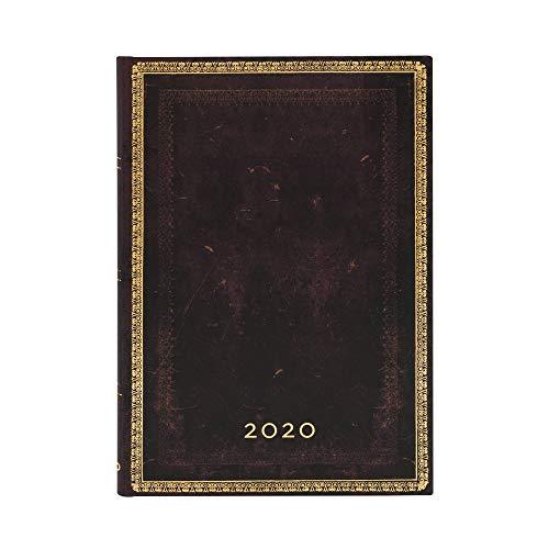 Paperblanks 12-Monatskalender 2020 | Schwarzes Marokkoleder |Horizontal | Midi (180 x 130 mm)
