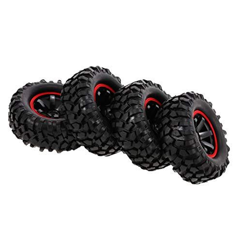 F Fityle Neumáticos de 96 Mm, Fatiga de Goma, Ruedas de 1,9 'para Piezas de Coche RC Rock Rock Crawler Buggy