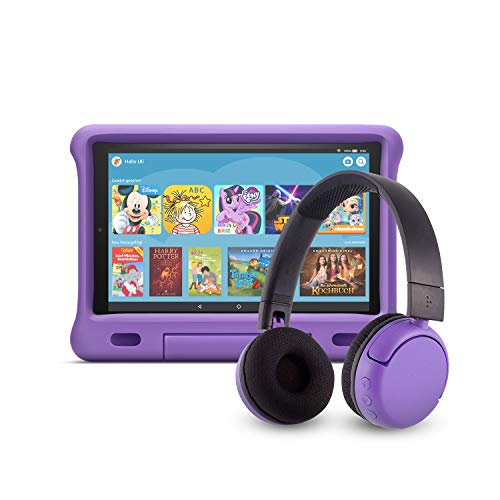Fire HD 10 Kids Edition-Tablet (32 GB, violette kindgerechte Hülle) mit PopTime-Bluetooth-Headset (Altersklasse: 8-15 Jahre)