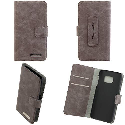 PETER JÄCKEL COMMANDER Book & Cover Nubuk grau für Samsung S7